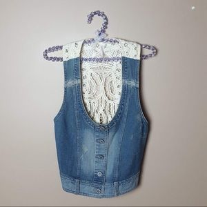 Free people battenburg denim jean lace vest small